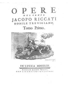 Jacopo Riccati - Opere, 1761