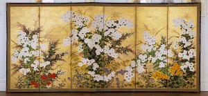 Rinpa school - Spring Landscape, unknown Rinpa school painter, 18th century, six-screen ink and gold on paper.