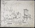 Roger Bacon conducting an alchemical experiment in a vaulted Wellcome V0025604.jpg