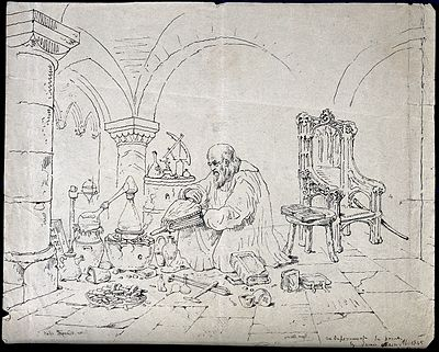 A 19th-century etching of Bacon conducting an alchemical experiment Roger Bacon conducting an alchemical experiment in a vaulted Wellcome V0025604.jpg
