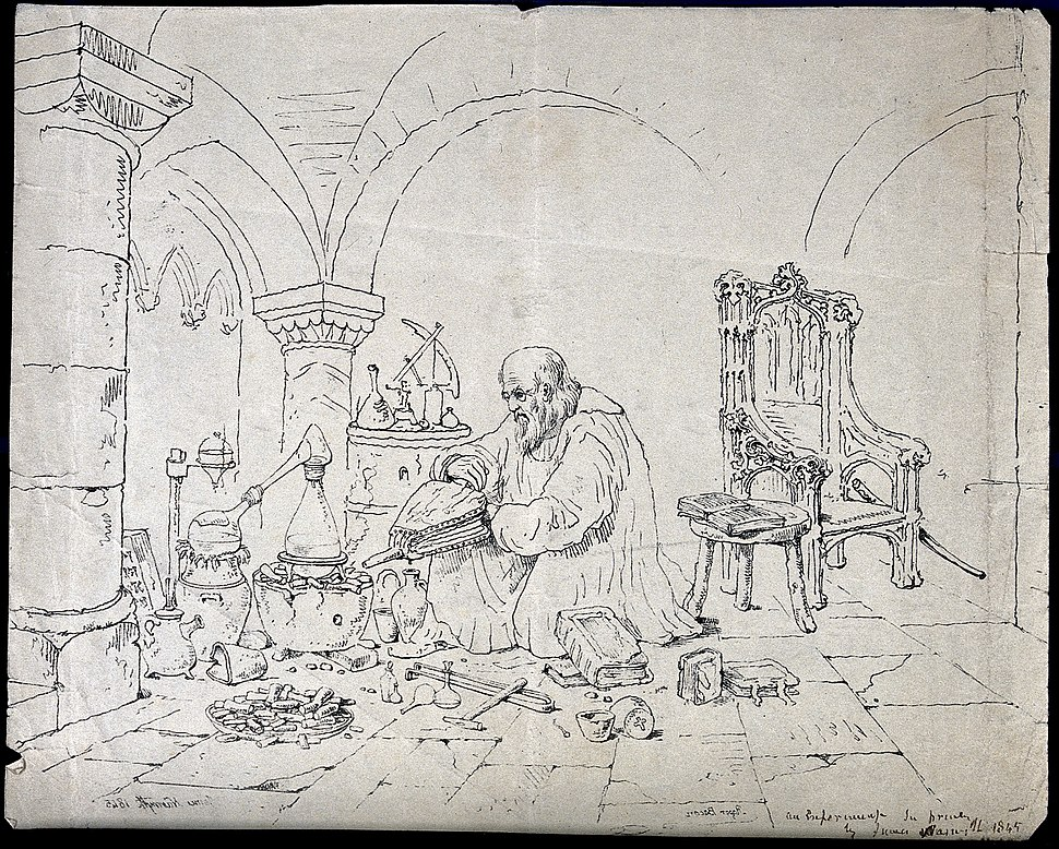 Roger Bacon conducting an alchemical experiment in a vaulted Wellcome V0025604