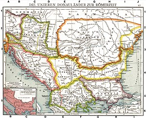 Limes Moesiae - Map Of Roman Provinces showing the Roman Limes near Moldavia. Old historical map from Droysens Historical Atlas, 1886