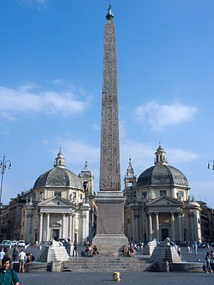 Piazza del Popolo - An Egyptian obelisk of Ramesses II from Heliopolis stands in the centre of the Piazza.