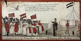 Painting depicting a group of men and women bearing banners approaching a man in military uniform who holds a scroll, with a tent and flag in the background