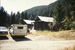 1998 United States Capitol shooting incident - Weston's cabin next to the lower Tenmile Creek in Montana following a search by the police