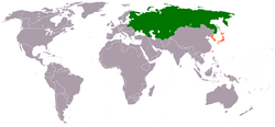 Map indicating locations of Russian Empire and Empire of Japan