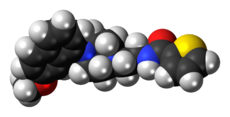 Space-filling model of the S-14671 molecule