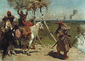 Russo-Crimean Wars - At the guarding border of the Moscow state.. Painting by Sergey Vasilievich Ivanov.