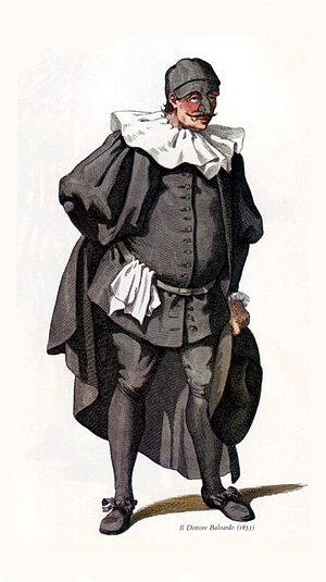 L'Orfeide - Traditional costume of the commedia dell'arte character, Dottor Balanzon