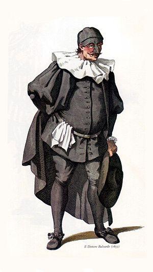 English: Dr Balanzone year 1653 Italiano: Dott...