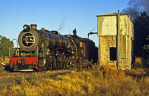 South African Class 16DA 4-6-2 1930 - No. 876 taking water at Thaba Nchu, 4 July 1999
