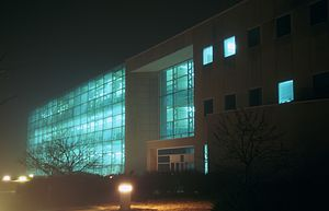 Southern Illinois University Edwardsville - The Engineering Building as seen at night.
