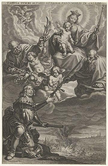 Sacra conversazione met Ferdinand van Oostenrijk en de slag bij Kallo, RP-P-1938-896