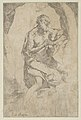 Saint Jerome kneeling on a rock in front of a cross and an open book facing right, after Reni MET DP838599.jpg