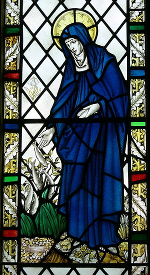 Brigid of Kildare - Saint Brigit as depicted in Saint Non's chapel, St Davids, Wales.