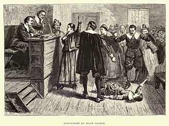 Mercy Lewis - 1876 illustration of the courtroom; the central figure is usually identified as Mary Walcott