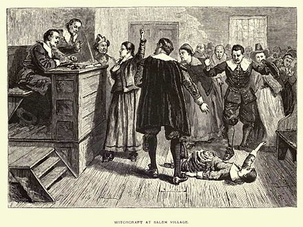 A depiction of a 17th-century criminal trial, for witchcraft in Salem SalemWitchcraftTrial large.jpg