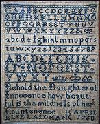 Sampler by Elizabeth Laidman, 1760.jpg