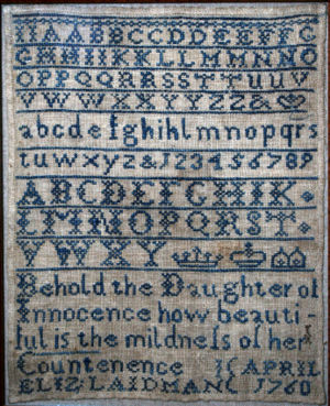Cross stitches - Cross stitch sampler with alphabets, crowns, and coronets, 1760