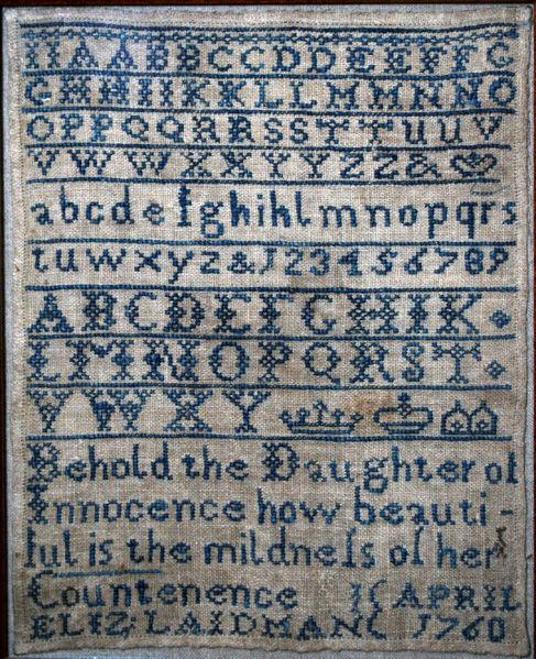 File:Sampler by Elizabeth Laidman, 1760.jpg