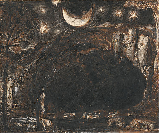 Samuel Palmer - A Shepherd and his Flock under the Moon and Stars - Google Art Project