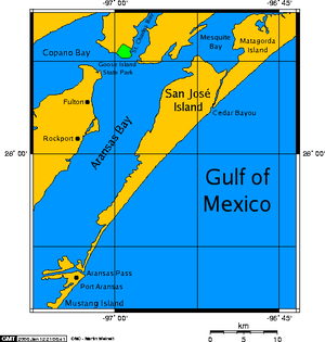 San José Island (Texas) - A map of San José Island.