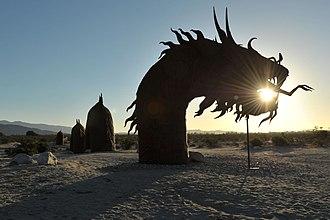 Galleta Meadows Estate - The sand dragon sculpture at sunrise at Borrego Springs, CA.