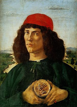 Pastiglia - Portrait of a Man with a Medal of Cosimo the Elder, Botticelli, with pastiglia medal