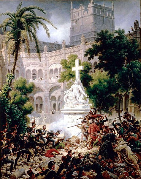 Asalto de las tropas francesas al monasterio de Santa Engracia.
