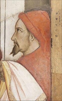 Santa croce, int., cappella maggiore, agnolo gaddi e bottega, affreschi 04 autoritratto di agnolo gaddi.jpg