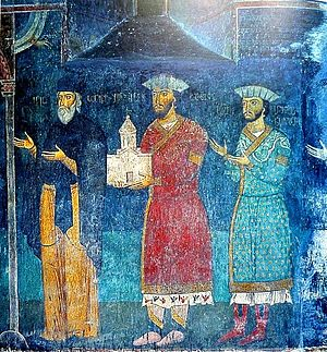 House of Jaqeli - A family portrait of the Jaqeli at the Sapara monastery. 14th century.