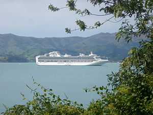Akaroa Harbour - Image: Sapphire Princess in Akaroa Harbour