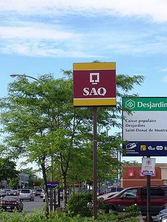 Société des alcools du Québec - This advertisement panel indicates that an SAQ store is nearby.