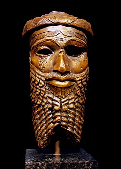 Bronze head of an Akkadian ruler, discovered in Nineveh in 1931, presumably depicting either Sargon or, more probably, Sargon's grandson Naram-Sin.[1] Reproduction in the Roemer- und Pelizaeus-Museum Hildesheim, the original from the National Museum of Iraq having been lost in the 2003 lootings.[2][1]