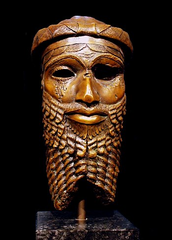 Bronze head of an Akkadian ruler, discovered in Nineveh in 1931, presumably depicting either Sargon or Sargon's grandson Naram-Sin.[1] Reproduction in the Roemer- und Pelizaeus-Museum Hildesheim, the original from the National Museum of Iraq having been lost in the 2003 lootings.[2][3]