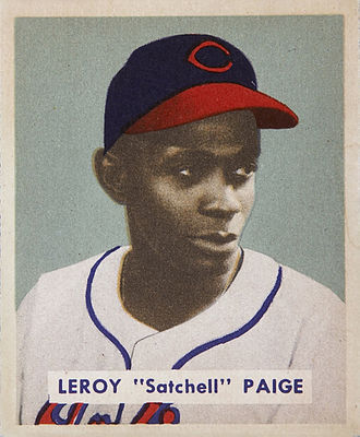 Satchel Paige - Paige's 1949 Bowman Gum baseball card, during his tenure with the Indians