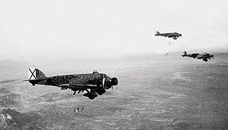 Aviazione Legionaria - Savoia-Marchetti SM.81 on a bombing raid