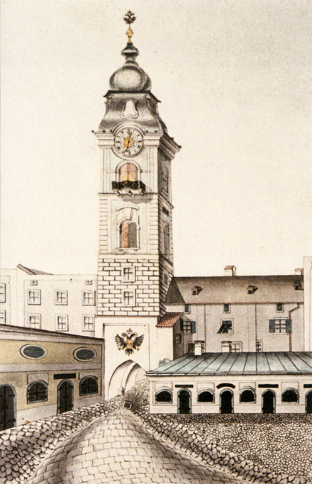 The Schmidtor-Turm, Linz, demolished in 1828. Pen and ink drawing with watercolour by Franz Laudacher. Schmidtorturm 1828.png