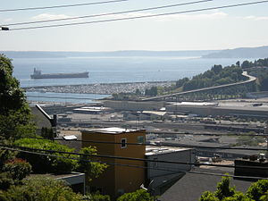 Interbay, Seattle - The Magnolia Bridge crosses former Smith Cove tideflats near the south end of Interbay. Seen here from Soundview Terrace on Queen Anne Hill.