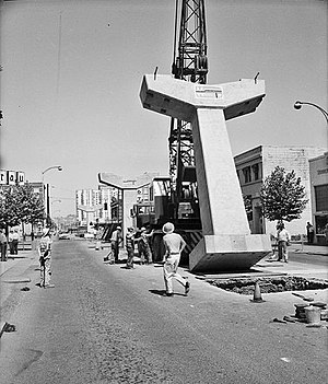 Seattle Monorail under construction - 1961