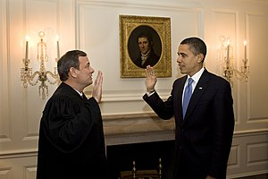 John Roberts - Barack Obama being administered the oath of office by Roberts a second time on January 21, 2009.