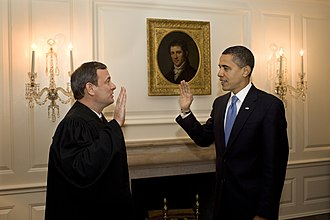 Article Two of the United States Constitution - President Barack Obama being administered the oath of office by Chief Justice John Roberts for the second time at his first inauguration, on January 21, 2009.
