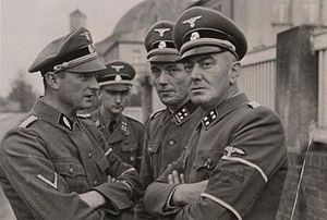 Valley of Death (Bydgoszcz) - Commanders of the new Selbstschutz battalions of German executioners in Bydgoszcz. From the left: SS-Standartenführer Ludolf von Alvensleben, chief of the Selbstschutz inspectorate in Płutowo. SS-Obersturmbannführer Erich Spaarmann, chief of the Selbstschutz inspectorate in Bydgoszcz (till November 1939). SS-Obersturmbannführer Hans Kölzow, chief of the Selbstschutz inspectorate in Inowrocław. SS-Sturmbannführer Christian Schnug, chief of the Selbstschutz inspectorate in Bydgoszcz as of December 1939.
