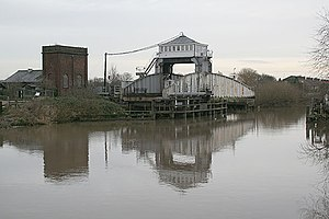 Hull and Selby Railway - Selby swing bridge in open position, and hydraulic accumulator tower, left (2007)