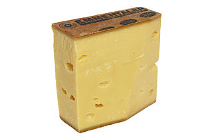 Emmental cheese - Eighteen-month old raw milk Emmental AOC Extra produced by Swiss affineur Rolf Beeler