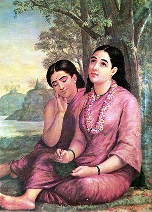 Malayalam - Shakuntala writes to Dushyanta. Painting by Raja Ravi Varma. The poetry was translated by Kerala Varma as Abhijnanasakuntalam