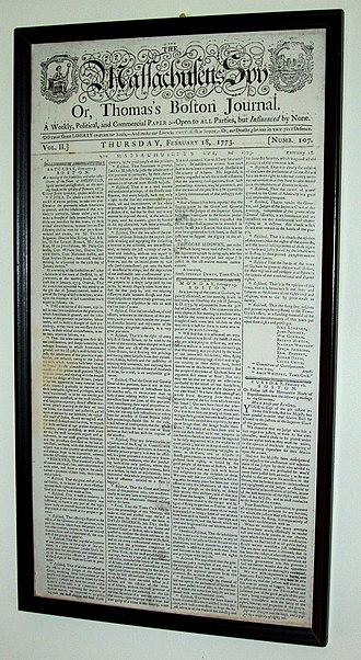 Sheffield Declaration - Sheffield Declaration, as printed in The Massachusetts Spy