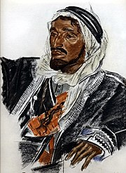 The classical Western image of a 'sheikh': Sheikh Sattam de Haddadin of Palmyra, by Russian painter Alexandr Evgenievich Yacovleff.