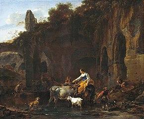 Shepherds beside Roman ruins