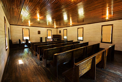 The interior of the AG church in Tupelo, Mississippi, that Elvis Presley attended as a child. Shiloh Roadtrip 2010, Assembly of God Church, Elvis's home, Tupelo.jpg